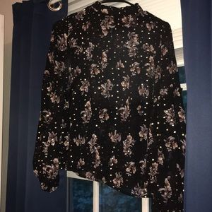Sheer floral black and gold long sleeve blouse